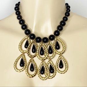 TRINA TURK Black & Gold Statement Necklace